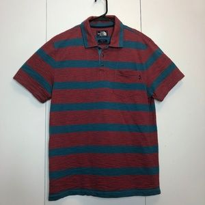 The North Face Striped Short Sleeve Polo Shirt EUC